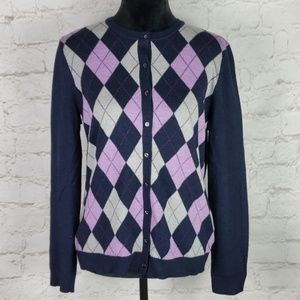 Brooks Brothers 346 merino wool argyle cardigan L